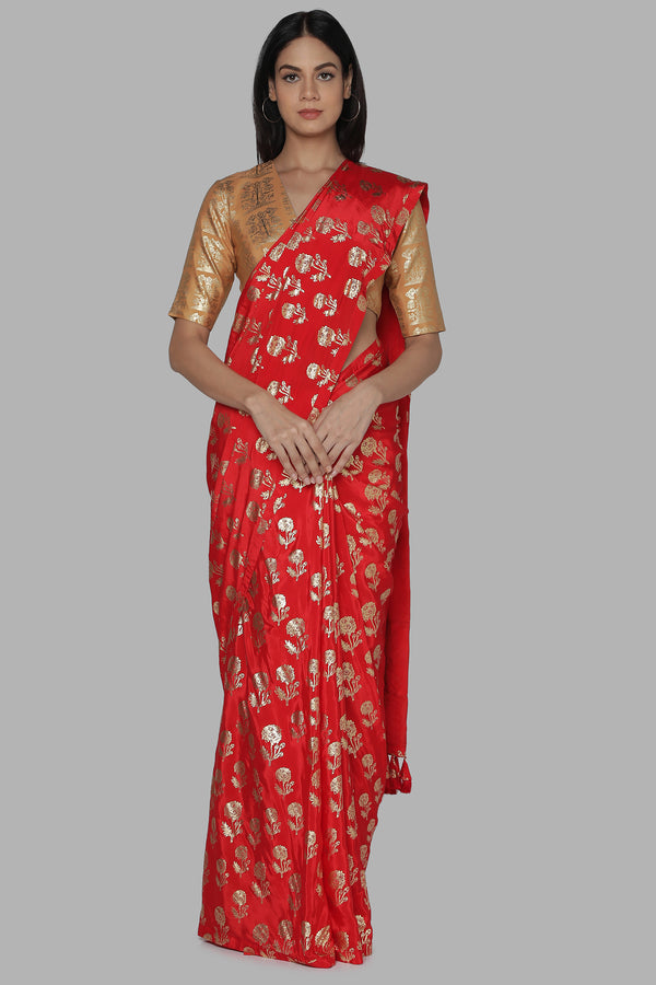 Red Marigold Saree With Beige Bunch Of Birds Blouse