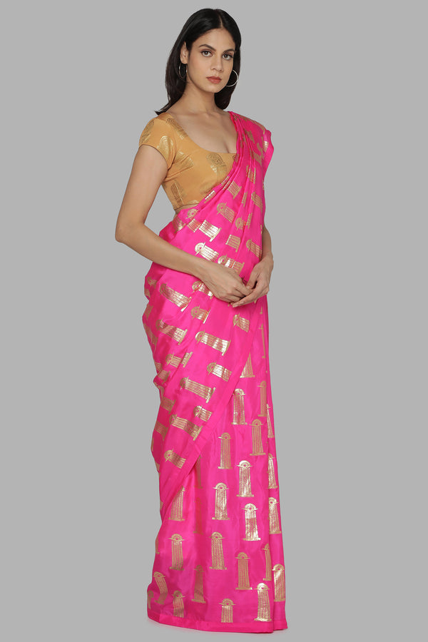 Hot Pink Blooming Pillar Saree With Beige Comb Blouse