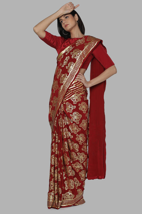 Maroon Full Bloom Foil Printed Saree With Maroon Blouse