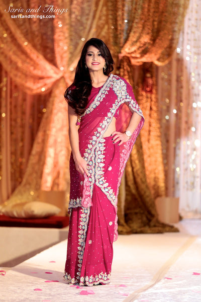 Diamonds Pink Ready-made Pre-Stitched Saree