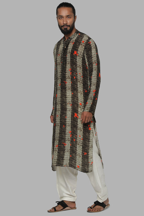 Masaba Gupta Brown Splatter Kurta Pajama for Men MMW20102