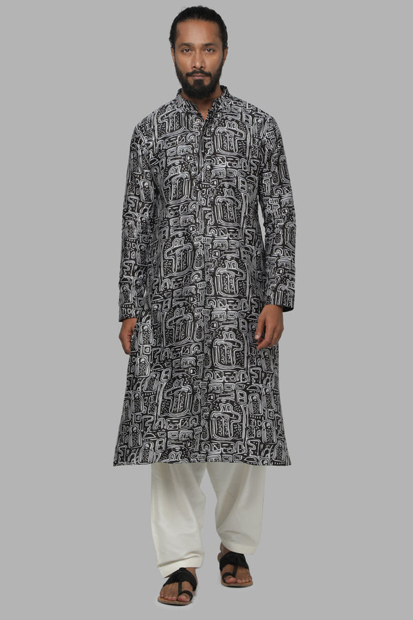 Masaba Gupta Black Maze Kurta With Ivory Pants for Men MMW20103