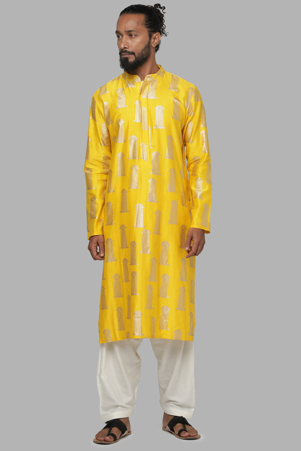Masaba Gupta Yellow Blooming Pillar Kurta With Ivory Pants MMW20105