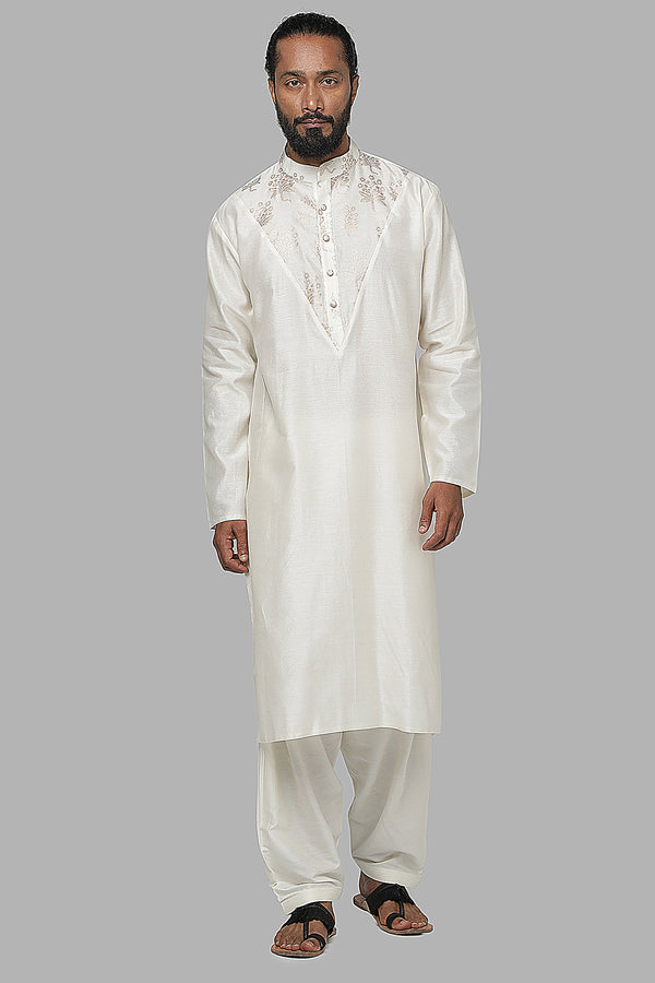 Ivory Star Flower Kurta With Ivory Pants MMWW20107