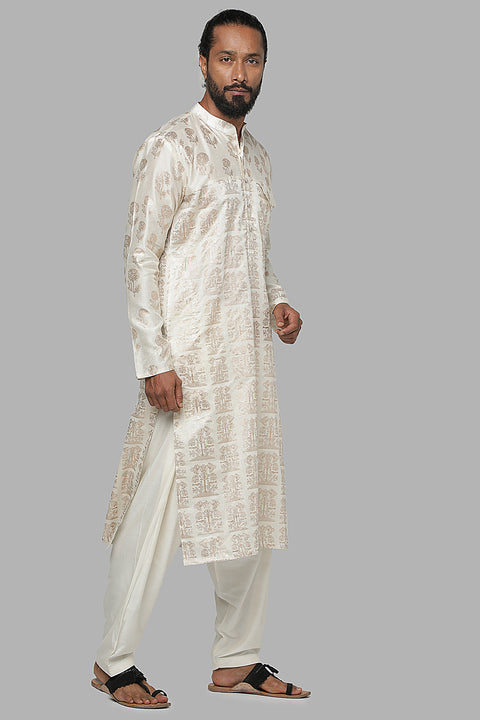 Masaba Gupta Ivory Bunch Of Birds Kurta With Ivory Pants MMWW20108
