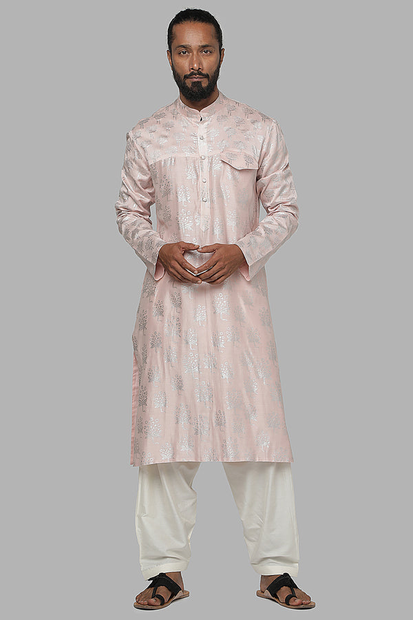 Masaba Gupta Baby Pink Star Flower Kurta With Ivory Pants MMWW20109