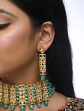Emerald Stone Kundan Choker Necklace and Earrings Set - MRR27