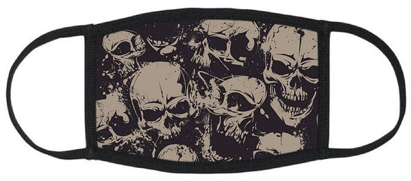 Skulls Reusable Face Mask - Unisex Washable Triple Layer Breathable Cotton Fabric - Limited Supply