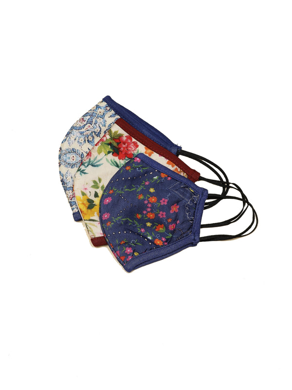 Ritu Kumar Reusable Printed Cloth Face Masks Set of 3 - (LIGHTBLUE-NAVY-ECRU)
