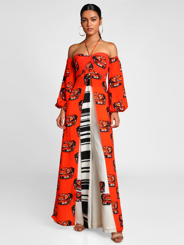 Masaba Gupta Orange Elephant Tunic With Ivory Flared Pants