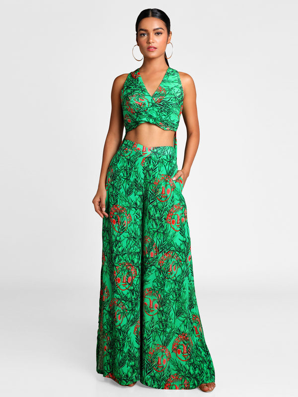 Masaba Green Bamboo Printed Hi-Low Top With Flared Pants