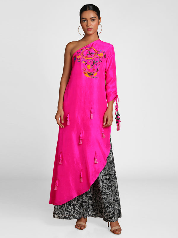 Masaba Pink One Shoulder Applique Embroidered Tunic With B&W Maze Pants