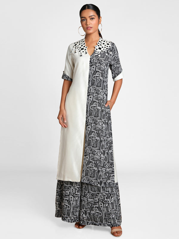 Masaba Black And White Maze Mirror Embroidered Tunic With Flared Pants