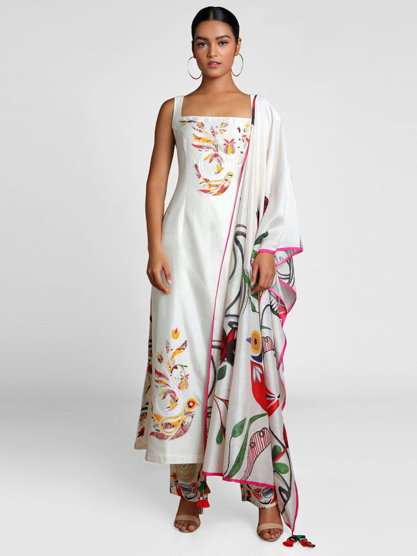 Masaba Ivory Applique Embroidered Kurta With Of Birds & Bees Pants And Dupatta
