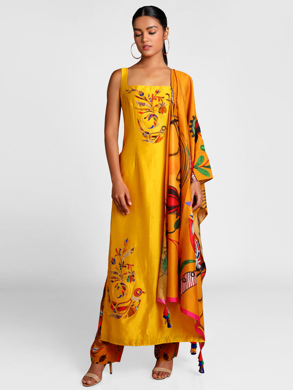 Masaba Mustard Applique Embroidered Kurta With Of Bird & Bees Pants And Dupatta