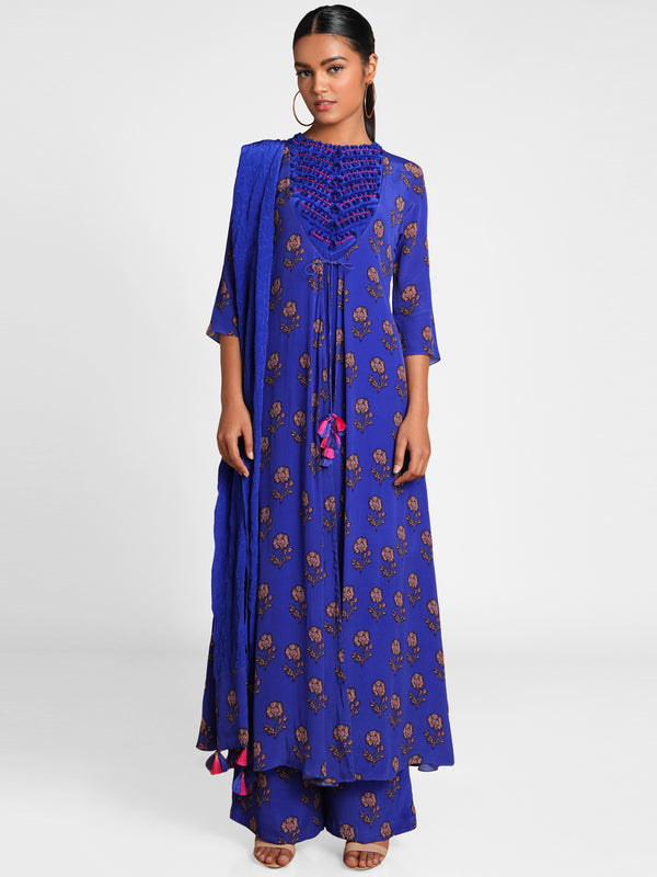 Masaba Blue Bloom Embroidered Yoke Kurta With Palazzo & Crush Stole