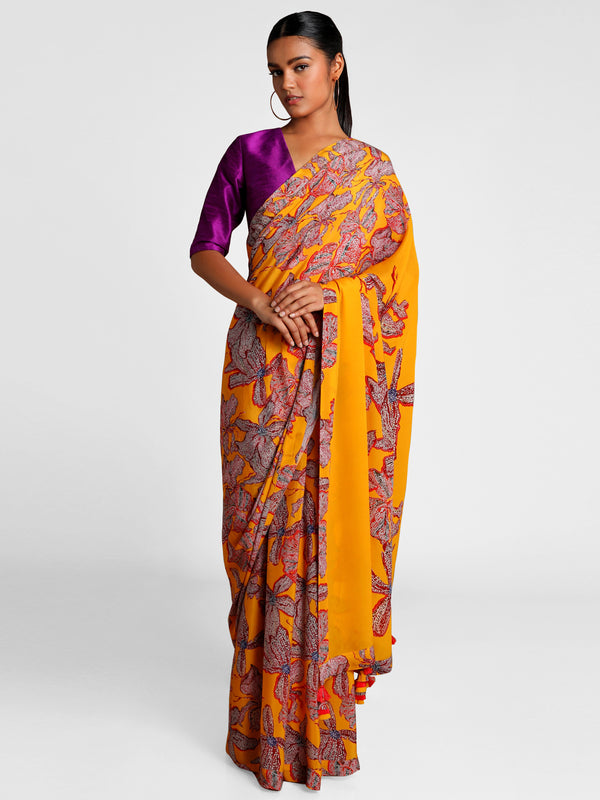 Masaba Yellow Wild Flowers Saree With Purple Blouse Piece