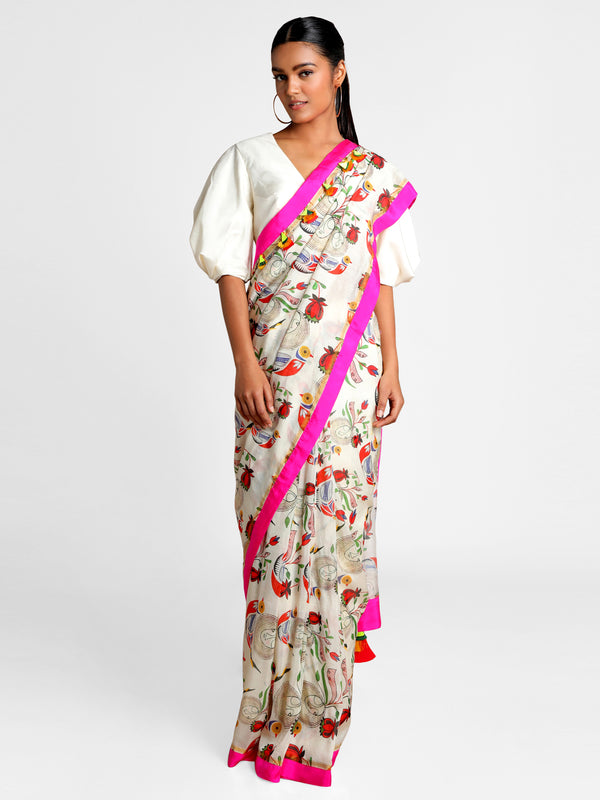 Masaba Ivory Of Bird & Bees Saree With Ivory Blouse Piece
