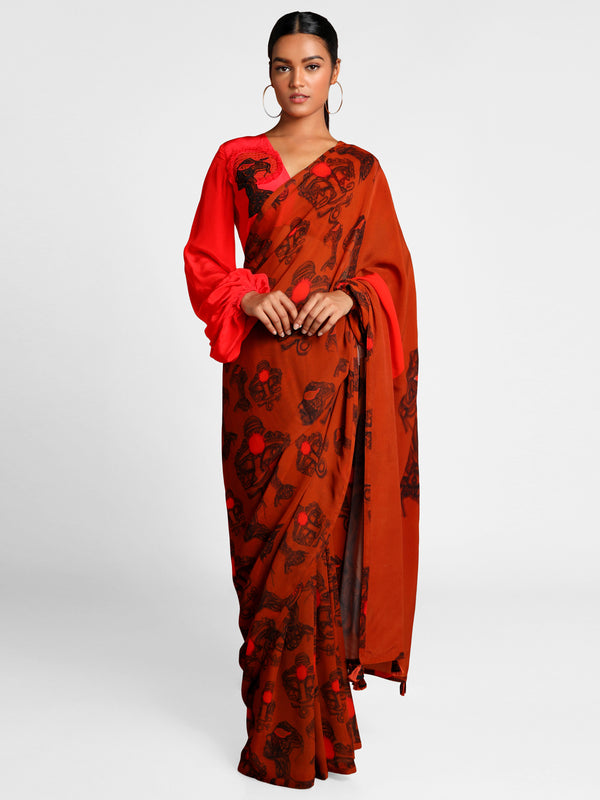 Masaba Brown Faces Saree With Red Palla And Half &Half Red Blouse Piece