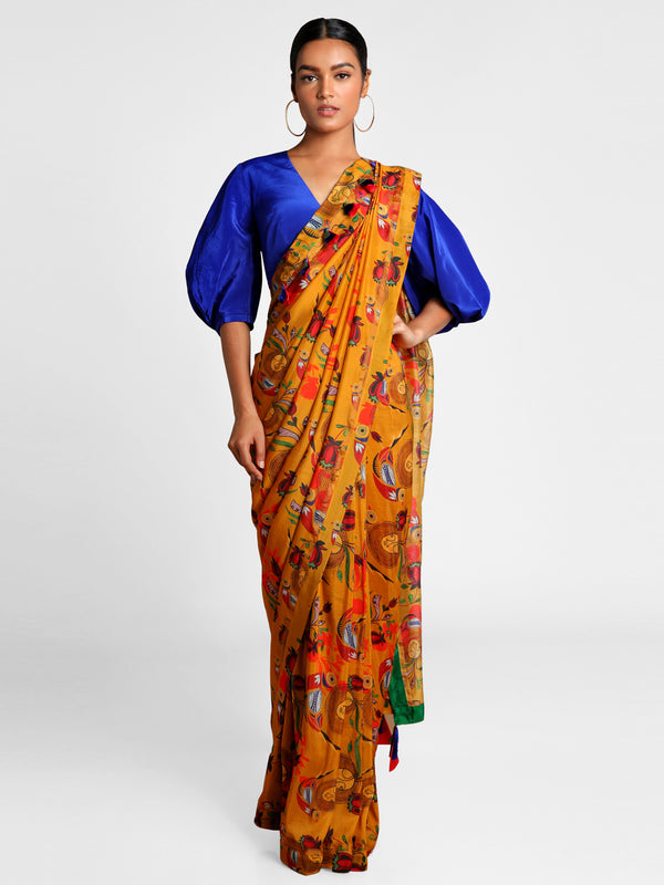 Masaba Mustard Of Bird & Bees Saree With Blue Blouse Piece