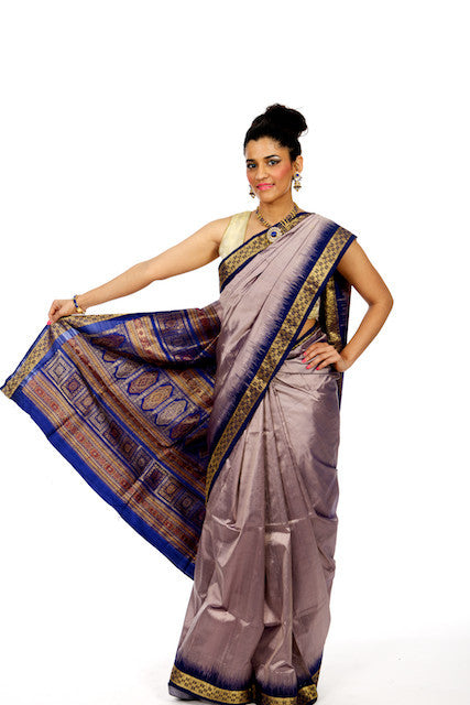 Metallic Sizzle - Purple Silk Saree