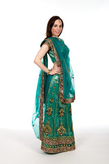 Mirror Magic - Green Lehenga Style Sari