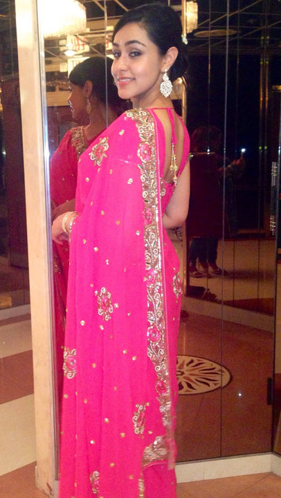 Sparkling Star in Pink Rich Embroidered Sari