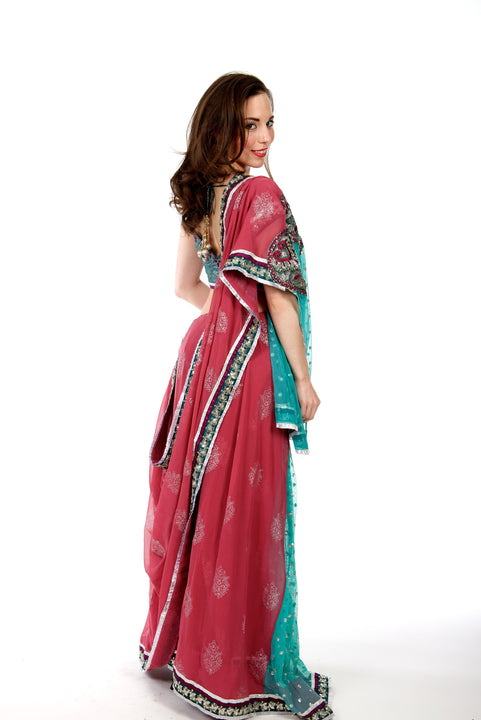 Pink and Green Lehenga Style Pre-Pleated Ready-made Sari