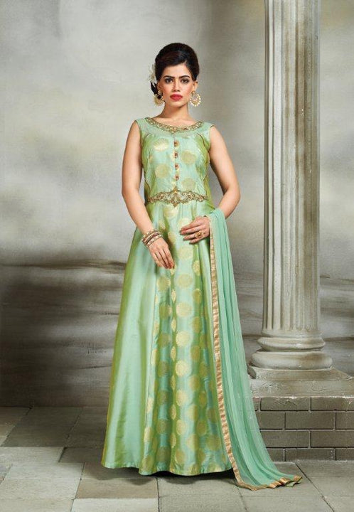Beautiful Chartreuse Silk Embroidered Indo-Western Anarkali Gown