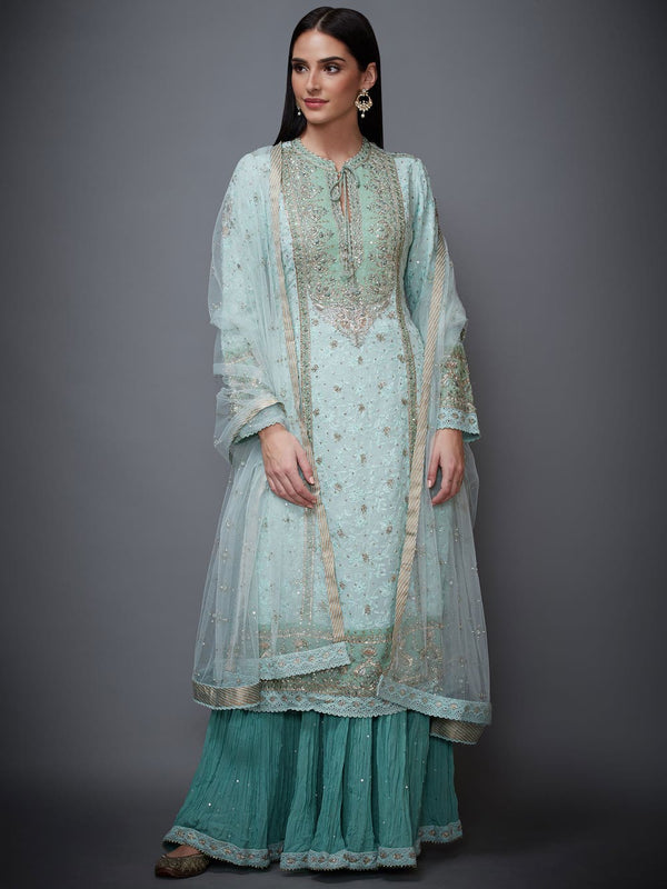 RI Ritu Kumar Aqua Embroidered Suit Set