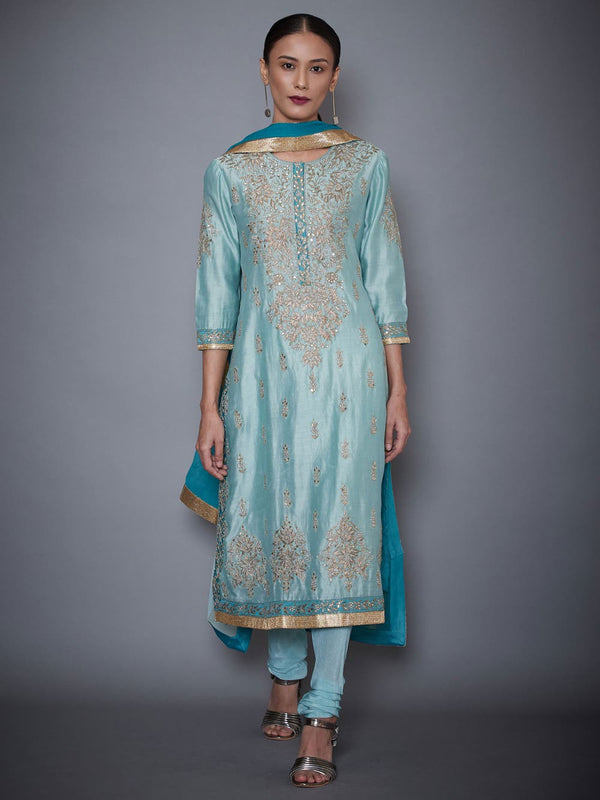 RI Ritu Kumar Aquamarine & Turquoise Embroidered Kurti With Dupatta And Churidar