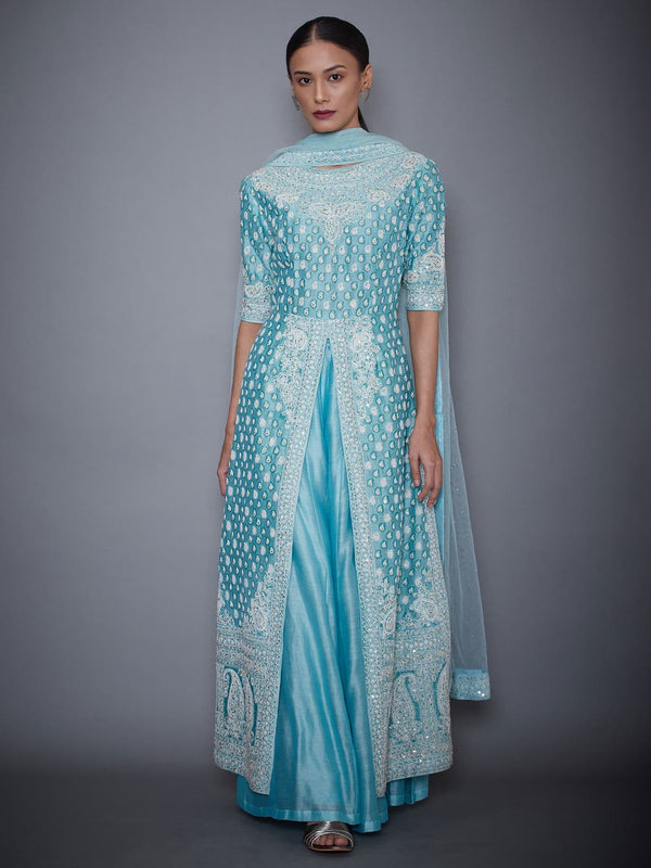RI Ritu Kumar Aquamarine Embroidered Kurti With Dupatta And Palazzo