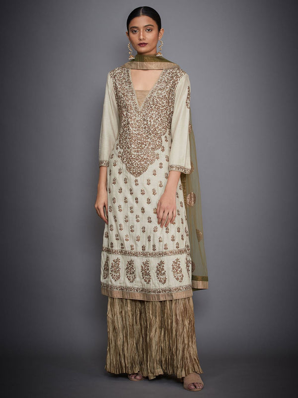 RI Ritu Kumar Beige & Khaki Green Embroidered Suit Set
