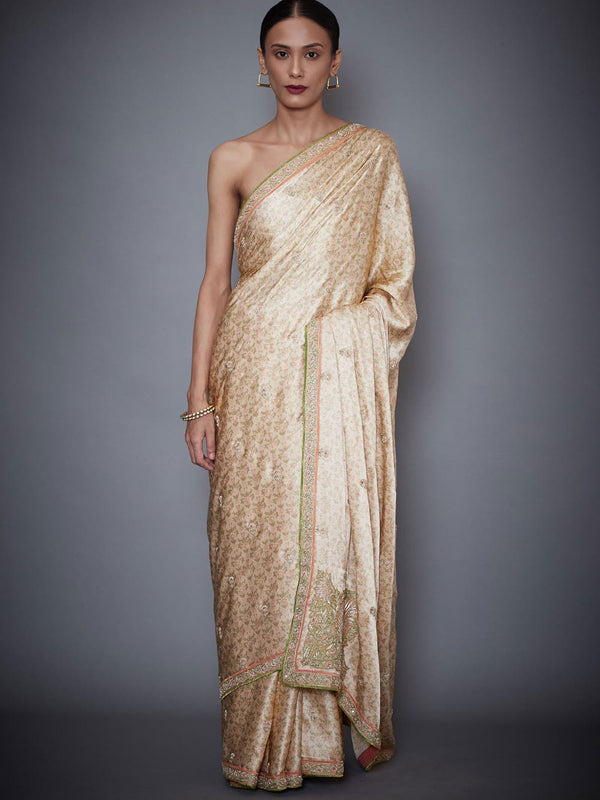RI Ritu Kumar Beige Embroidered Saree With Unstitched Blouse