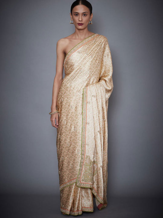 RI-Ritu-Kumar-Beige-Embroidered-Saree-With-Unstitched-Blouse-Complete-View