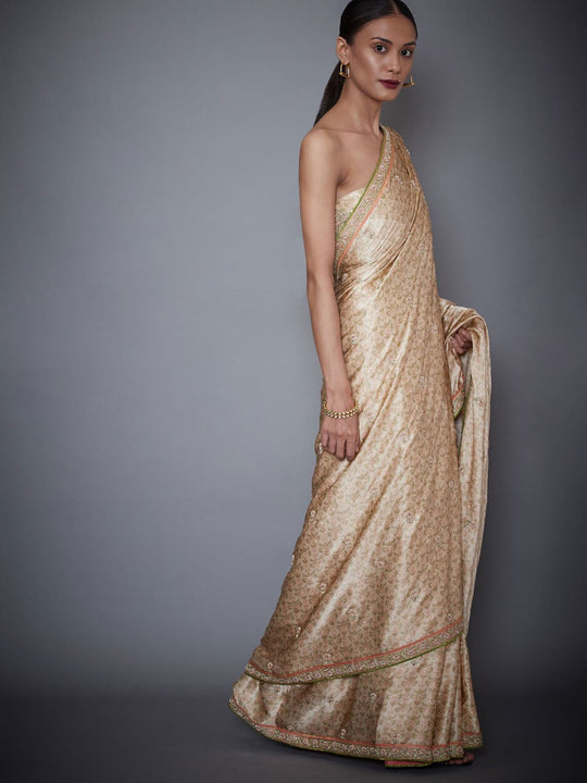 RI-Ritu-Kumar-Beige-Embroidered-Saree-With-Unstitched-Blouse-Side-View2