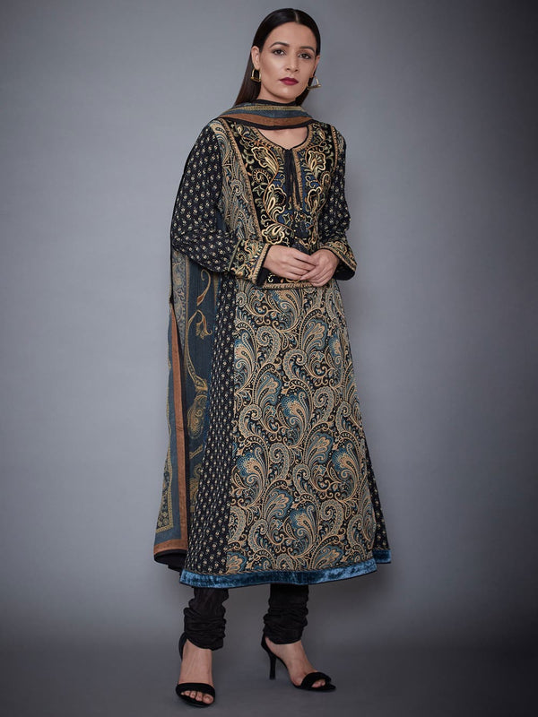 RI Ritu Kumar Black & Beige Embroidered Suit