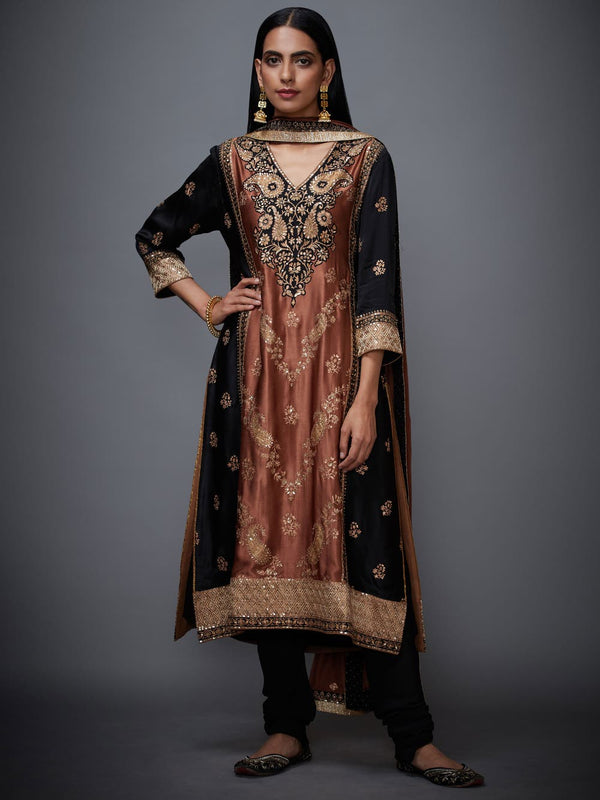 RI Ritu Kumar Black & Brown Silk Embroidered Suit Set