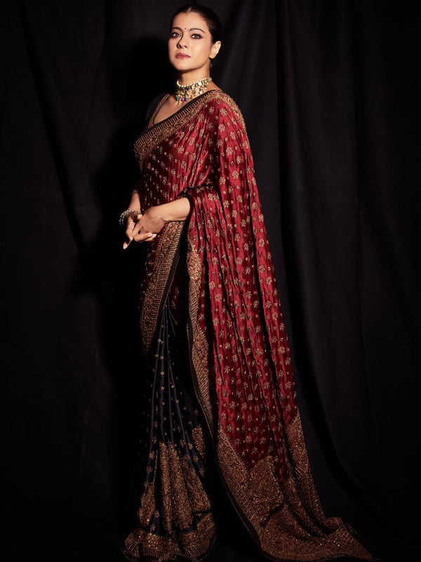 RI Ritu Kumar Black & Burgundy Embroidered Saree With Stitched Blouse