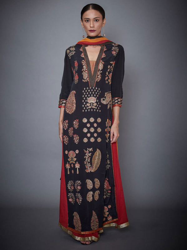 RI Ritu Kumar Black & Burgundy Embroidered Suit Set