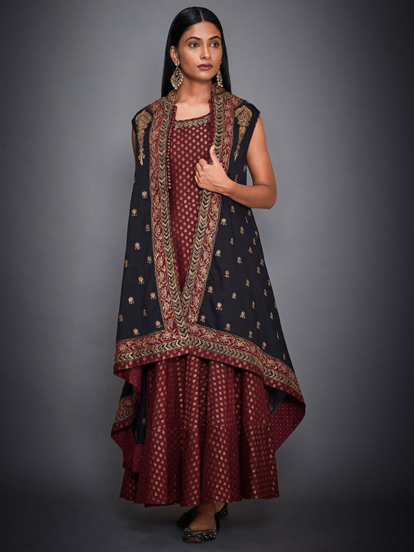 RI Ritu Kumar Black & Burgundy Tiered Dress With Jacket