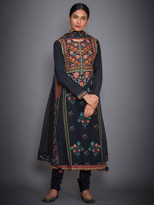 RI Ritu Kumar Black & Red Hand Embroidered Suit Set