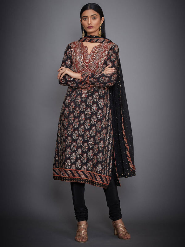 RI Ritu Kumar Black & Rust Embroidered Suit Set