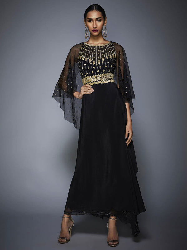 RI Ritu Kumar Black Embroidered Draped Gown