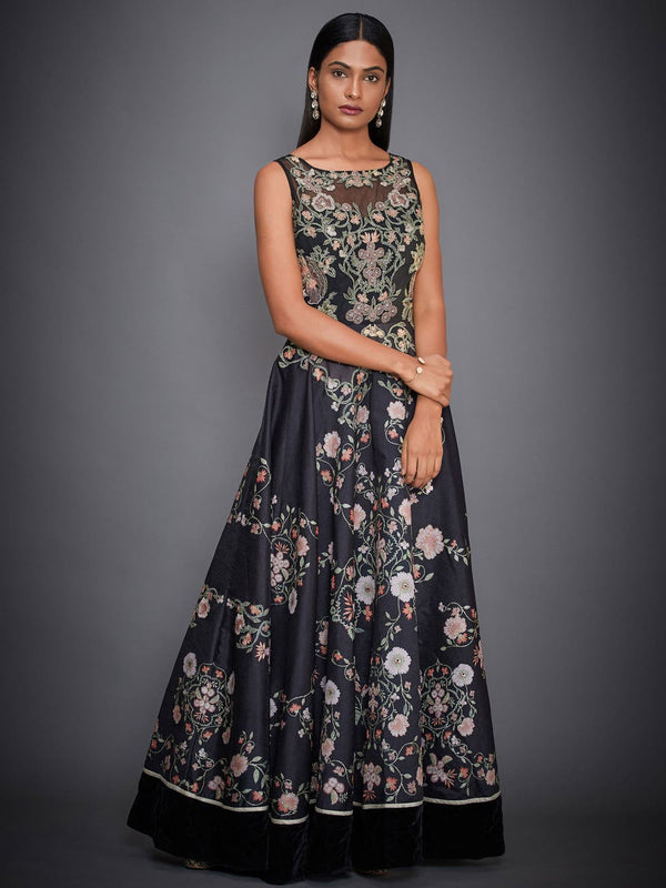 RI Ritu Kumar Black Embroidered Floral Gown