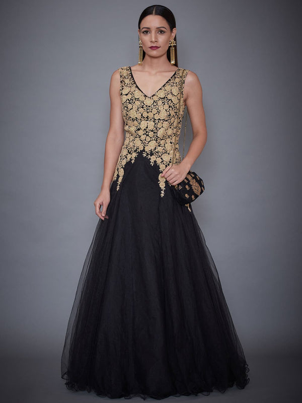 RI Ritu Kumar Black Embroidered Gown