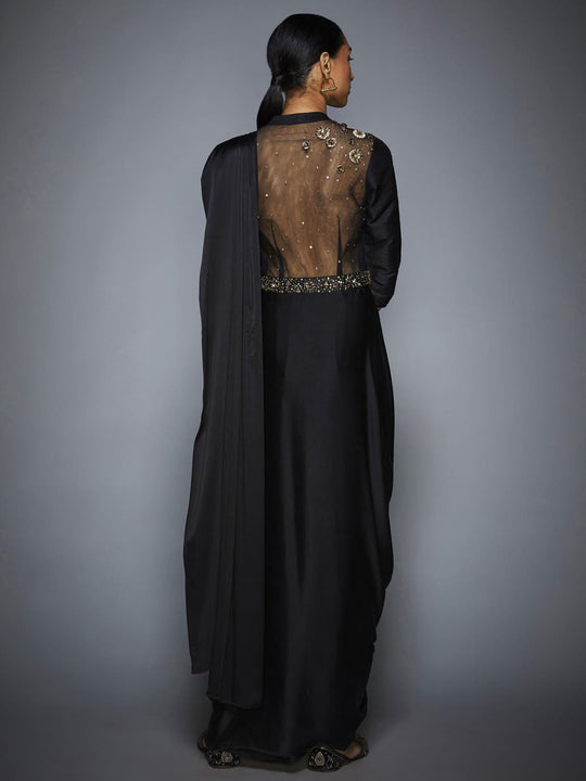 RI-Ritu-Kumar-Black-Sequin-Pre-Draped-Saree-With-Stitched-Blouse-Back