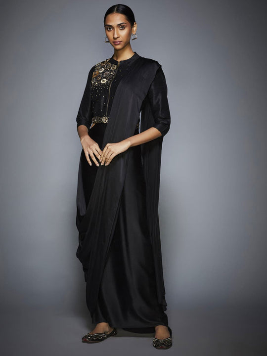 RI-Ritu-Kumar-Black-Sequin-Pre-Draped-Saree-With-Stitched-Blouse-Complete-View