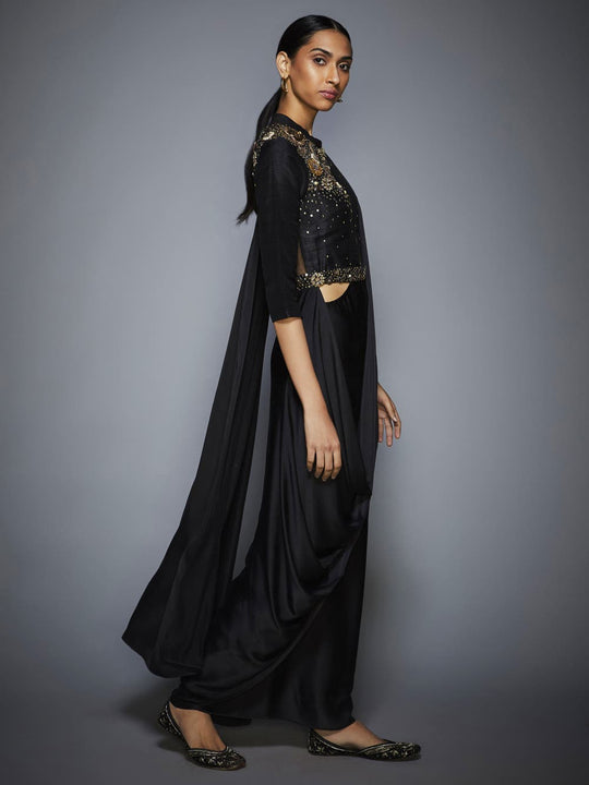 RI-Ritu-Kumar-Black-Sequin-Pre-Draped-Saree-With-Stitched-Blouse-Side-View2
