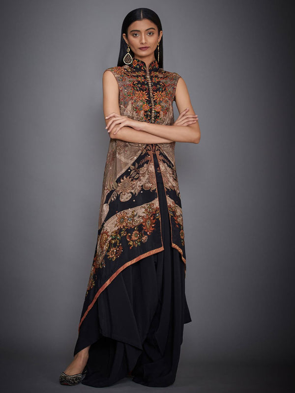 RI Ritu Kumar Brown & Black Kalamkari Ensemble